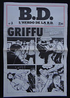 BD L'HEBDO DE LA BD - n°3 octobre 1977 - GRIFFU TARDI MANCHETTE