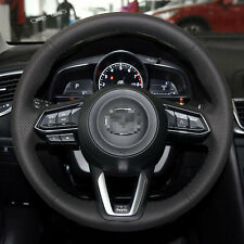 Genuine Leather Steering Wheel Cover Stitch on Wrap for 17 18 Mazda 3 CX-5 CX-9