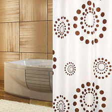 TEXTILE Rideau de douche blanc marron cercles Points 180x180 anneaux avec