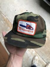 Vtg 80s 90s Husqvarna Patch Camo Trucker  Mwah Hat K Products USA Rare