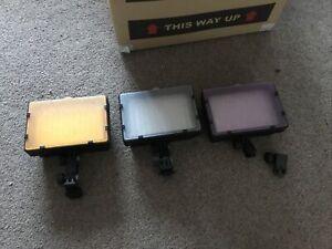 3 X Neewer CN-126 LED Battery Video Lights - Hot Shoe - Photo Lighting Job Lot