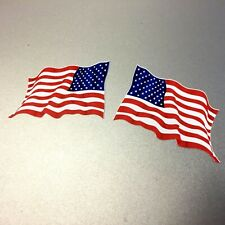 USA STARS & STRIPES Flag Wavy  Motorcycle Car Bumper Stickers  2 off 60mm