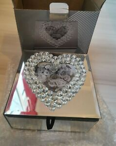 Luxury Jewelled Heart frame Mirrored Jewellery Box Sparkle Day Makeup box
