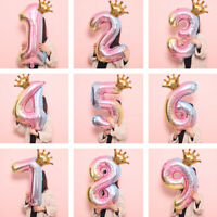 32inch Foil Balloons Number Crown Digit Air Ballon Birthday Party Decorations