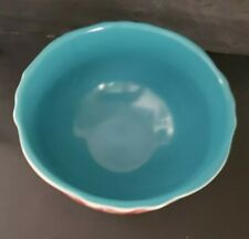 """The Pioneer Woman Vintage Floral 6""""  Footed Bowl  Turquoise Lined, Red Floral ."""