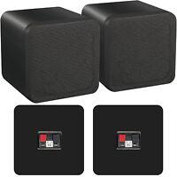 "Pair of 4"" ABS Bookshelf Speakers–80W 8Ohm–Black HiFi Surround Sound Home Cinema"