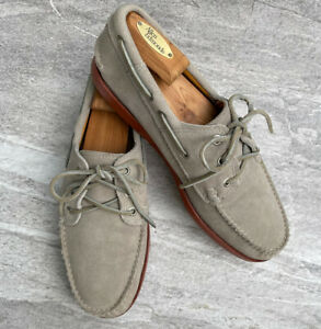 Quoddy Gray Suede Three-Eye Boat Deck Shoes Sz 9 M Made In Maine USA