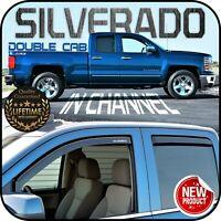 2014-2019 Silverado Double Cab In Channel Window Deflector Vent Visor Sun Shade