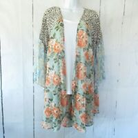 New Umgee Duster Kimono 1X Sage Green Floral Boho Peasant Plus Size Cottagecore