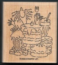DESSERTS HAPPY FACE FORK Cake Pie Shake FOOD Stampin' Up! 2002 Wood RUBBER STAMP