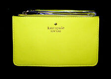 NWT $88 KATE SPADE Slim Wristlet in Bright Yellow Leather