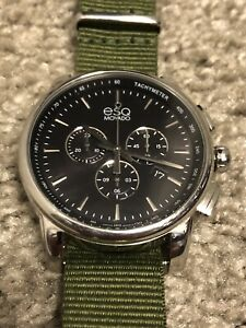 Movado ESQ Black/Silver Stainless Steel Watch w Green NATO Strap