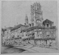 Etching by John Taylor Arms, Albi Cathedral, Signed In Pencil and Dated 1926