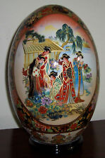 "New 9"" Oriental Asian Chinese Geisha & Bird Egg with Wood Base Porcelain"
