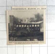 1939 Smoke And Flames Pouring From Roof Of Stone Bridge Mills, Wortley, Fire