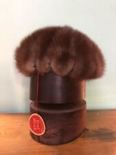 Gorgeous ~*ART DECO VINTAGE FUR REAL MINK PILL BOX HAT LABEL Beautiful & Warm