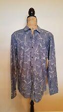 INC International Concepts Slim Fit Button Up Shirt Medium NWT $59 Blue M