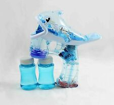 Blue Fish Shape LED Water Bubble Gun Shooter Sound Garden Fun Family Party Kids