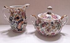 LEFTON  Porcelain Cream & Covered Sugar Bowl Color Floral Pattern w/Gold Trim