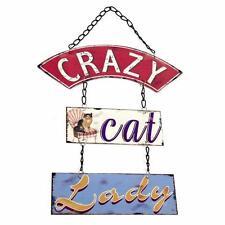 Crazy Gato Dama Cartel Placa Vintage Shabby Chic Regalo WP_62324