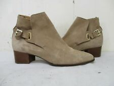 ffc2dffbce38 MASSIMO DUTTI Beige Suede Leather Buckle Ankle Boots Womens Size 40 EUR