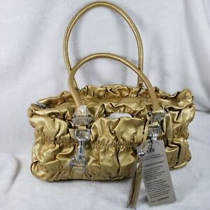 Joy Mangano Gold Expandable Designer Drop Bag With Wristlet NEW WITH TAGS