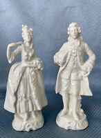 Vintage Capodimonte Porcelain Victorian Couple Man Woman Figurines, N Crown Mark