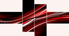 Large Super Extra Long 4 Panel Multi Set Black Red White Abstract Wall Art Print