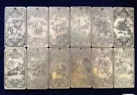 "12Pcs Old Chinese""Chinese Twelve Zodiac"" tibetan Silver Bullion thanka amulet"