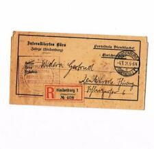Germany German States Hindenburg 1921 Registered Letter Plebiscyt telegram cover