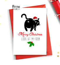 Funny cat christmas card from the cat bum humour witty cat mum dad mother father