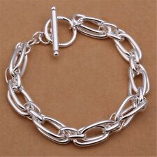 Women 925 Sterling Silver Plt Toggle Chunky Thick Link Chain Bracelet B14