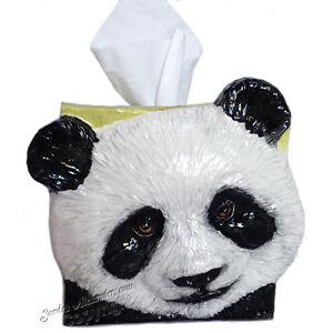 PANDA BEAR Ceramic tissue box cover sculpted RELIEF ART by Sondra Alexander Art