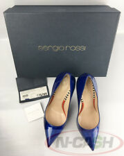 BIG SALE! Authentic $600 Sergio Rossi China Blue Patent Leather Pumps 37.5