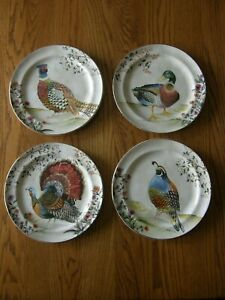 Set 4:Pottery Barn Botanical Harvest Bird Dinner Plates-Mixed-Thanksgiving-New