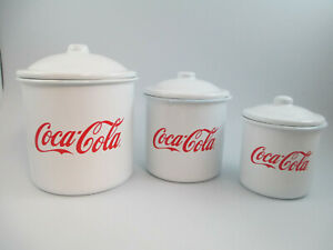 Coca-Cola Set of 3 Enamelware Canisters with Lids White with Red Script Logo