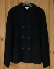 Coldwater Creek Black Double Breasted Cardigan, Womens 1X (16W-18W)