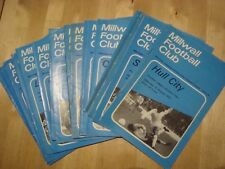 Full set of Millwall  home programmes 1972-73 - 23 programmes in all