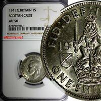 Great Britain George VI Silver 1941 1 Shilling Scottish Crest NGC AU58 KM# 854