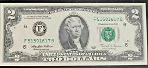 Series 1995 $2 Small Size Two Dollar Federal Reserve Note