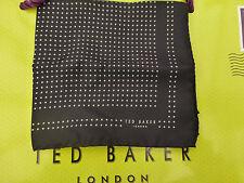 TED BAKER Pocket Square 100% Silk Hankie Black DOTTYS Handkerchief BNWT RRP£25