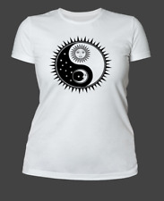 Women's T Shirt Yin And Yang Sun And Moon Design Witchcraft Wicca Pagan