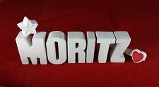 Beton Steinguss Buchstaben 3D Deko Namen Schriftzug MORITZ als Geschenk verpackt