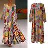 Women Vintage Floral Print Patchwork Dress Long Sleeve ONeck Loose Maxi Dresses