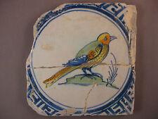 Antique Dutch Polychrome tile bird rare tiles 17th century - free shipping