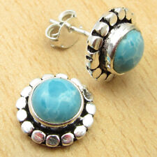 "Sky Blue Simulated Larimar NEW Earrings 0.5"" Silver Plated Jewelry ONLINE STORE"