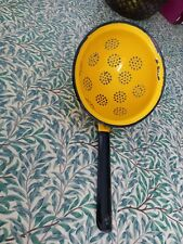 More details for vintage bright yellow enamel sieve colander strainer with handle kitchenalia