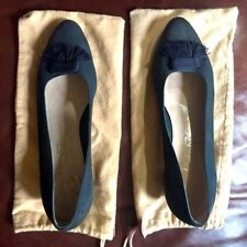 Salvatore Ferragamo ITALY Navy Blue SUEDE Slip On TASSELL Pumps SHOES 10B