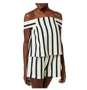 Topshop Black White Pin Stripe Off the Shoulder Romper NWOT Women's Size 8