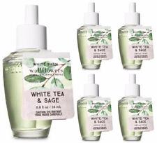 5 Bath Body Works WHITE TEA & SAGE Wallflower Fragrance Refill Bulbs Lot